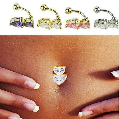 4 Stainless Steel Belly Ring Navel Piercing Jewelry Crystal Heart Shaped Style
