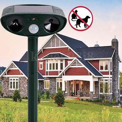 SOLAR Dual Ultra Sonic Animal PIR Repeller Cat Dog Avoiding Garden Move Out