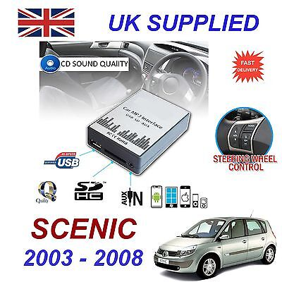 SCENIC 2003-2008 MP3 SD USB CD AUX Input Audio Adapter Digital CD Changer Module
