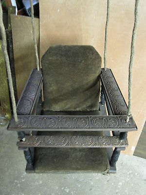 Antique Victorian Era Wood Upholstered Baby Child Swing Interior Decorate Wow