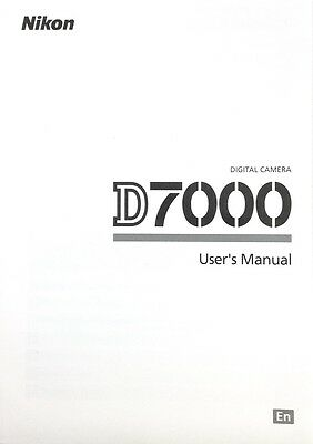 Nikon D7000 Digital Camera User's Manual / Book, English #39105