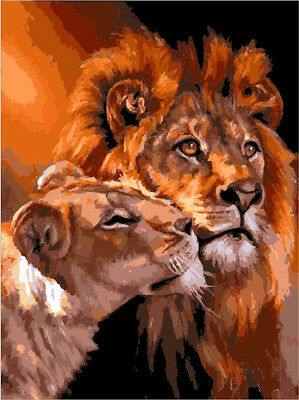 "16X20"" Paint By Numbers Kit Animal Lions DIY Acrylic Oil Painting Home Decor 240"