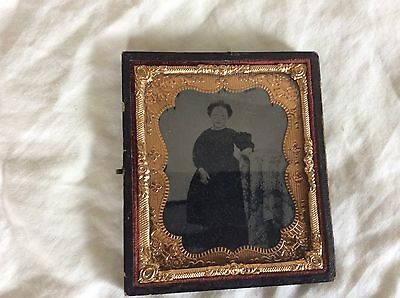 Antique 1800's Tin Type Photograph Of Little Victorian Girl