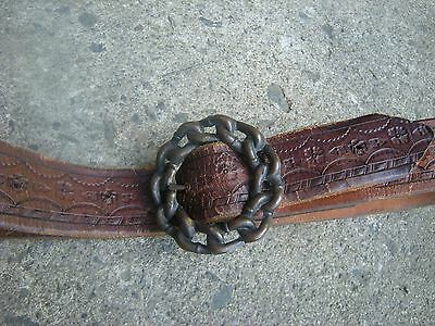 Vtg 70s HIPPIE Brown Leather Tooled Belt with Chain Buckle -  See measurments