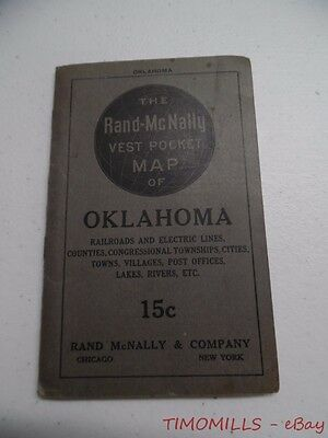 1910 Rand McNally Vest Pocket Map of Oklahoma Railroads Electric Lines Antique