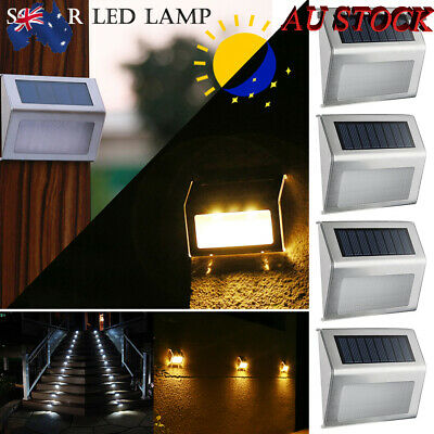 4X Solar Stair Step Lights LED Deck Garden Stainless Steel Wall Pathway AU