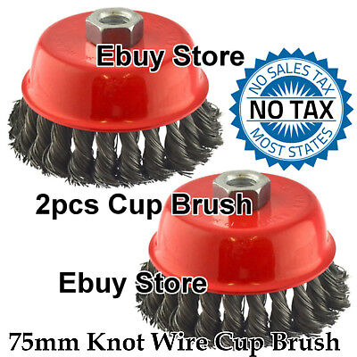 "(2pcs) 3"" x 5/8"" 11 NC FINE Knot Wire Cup Brush For Angle Grinders Knotted Wheel"
