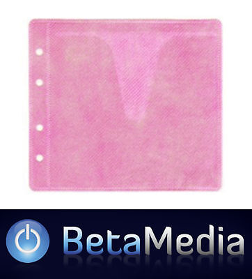 200 x Pink CD / DVD Double Sided Plastic Sleeves - Holds 400 discs
