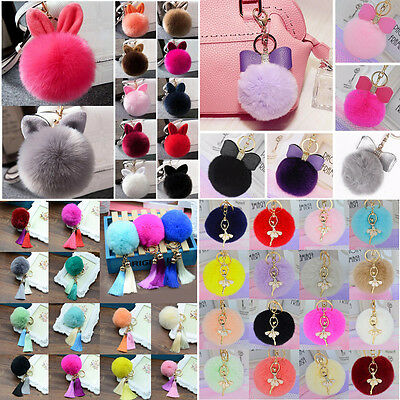 Cute Handbag Pendant Cell Phone Car Tassel PomPom Ball Key Ring Faux Rabbit Fur