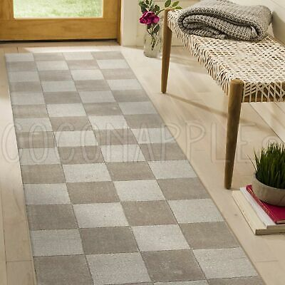THICK HANDLOOMED NZ WOOL TAUPE MODERN FLOOR RUNNER 80x400cm **FREE DELIVERY**