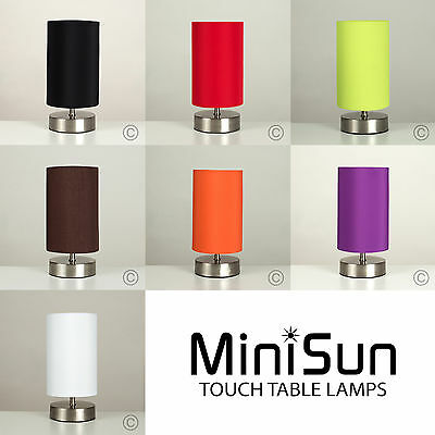 Modern Brushed Chrome Touch Dimmer Bedside Table Lamps Lounge Lights Lighting