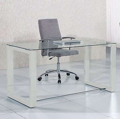 Mesa de estudio oficina despacho Office, cristal transparente y Blanco