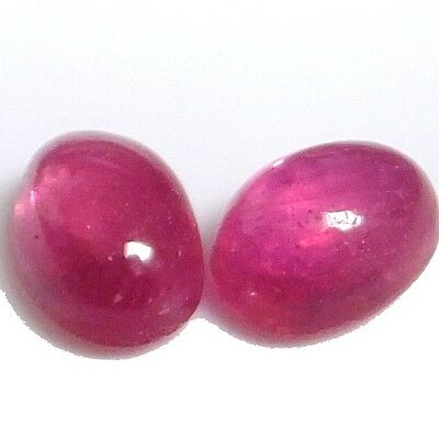 NATURAL EXCELLENT RED RUBY LOOSE GEMSTONES (PAIR) OVAL CABOCHON (7 x 4.9 mm)