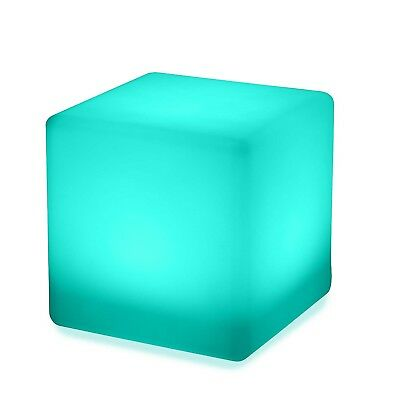 LED Cube Stool Colour Changing 40cm Chair Seat Outdoor Furniture