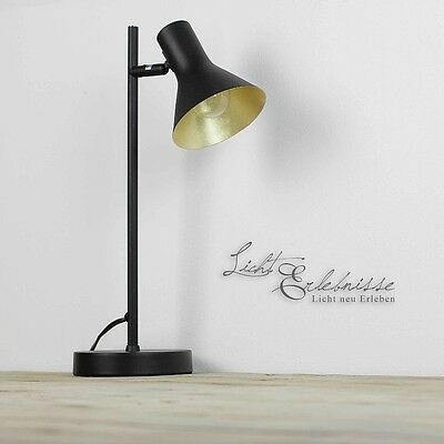 retro tischlampe in schwarz gold schwenkbar tischleuchte e14 design lampe licht eur 39 95. Black Bedroom Furniture Sets. Home Design Ideas