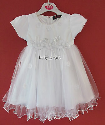Baby Girls White Dress Frilly Christening Baptism Flower Girl Wedding New