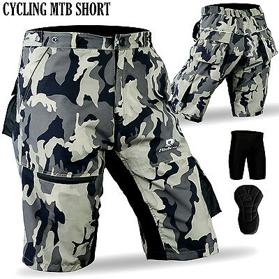 MTB Cycling Short Padded Coolmax Off Road Cycle Bicycle Liner Shorts Camo Design