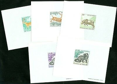 LAOS : 1971. Sc #219-22, C83 Beautiful VF Animals Complete set of 5 Deluxe Shts.