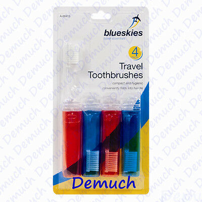 New 4 Pack Travel Toothbrush Fold-Up Foldable Family Holiday Weekends Away UK ✔