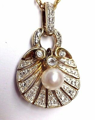 Precious! Seashell Clam with Cultured Pearl Sterling Silver with Gold Pendant