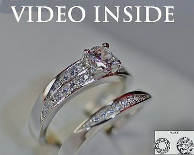 1.20CT Engagement & Wedding Engagement Rings 18K White Gold Colour Made in Italy