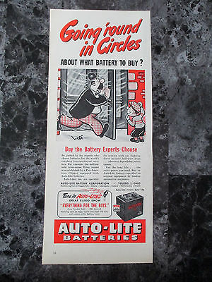 "Vintage 1944 Auto-Lite Car Batteries Color Print Ad, 13.625"" X 5.5"""
