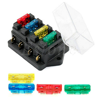 12V/24V 4 Way Car Circuit Standard ATO Blade Fuse Box Block Holder + 4 Fuses New