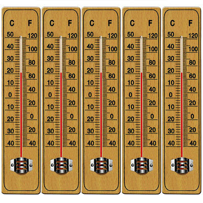 5x Wooden Wall Thermometer Temperature Outdoor Indoor Garden Greenhouse 22cm