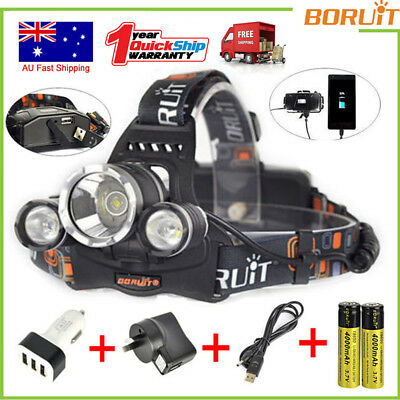 BORUIT 13000LM 3X XML T6 LED Headlamp 4 Mode Headlight 18650 Head Torch USB Lamp