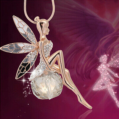 Newest Angel Wings Butterfly Wings fairy Rhinestone Crystal Necklace necklace