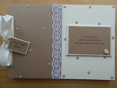 Personalised Wedding Guest Book Scrapbook Memory Book Any Wording QUICK POSTAGE