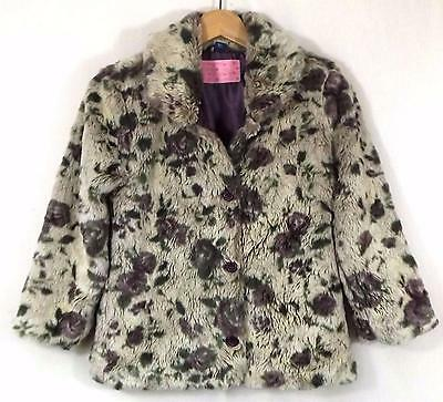 TU Girls Faux Fur Jacket Natural Mauve & Green Floral Size 8YRS Used