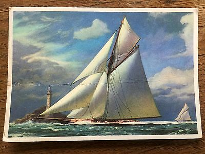 Postcard Brittania Rounding the Fastnet Rock Oil Painting by Deryck Foster
