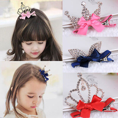 Pince Epingle Cheveux Couronne Enfant Fille Barette Bébé Strass Arc Hairpin Clip