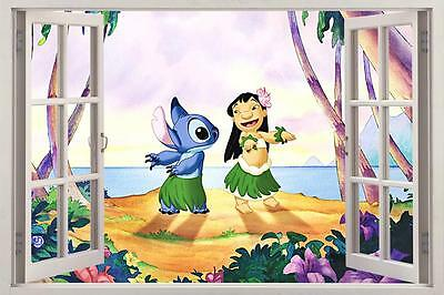 lilo stitch 3d window view decal graphic wall sticker art mural