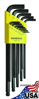 Bondhus 13 pc Ball End SAE Standard Inch Hex L Wrench Set .050 - 3/8in USA 10937