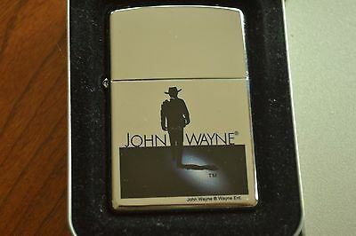 ZIPPO Lighter, 21120 John Wayne Silhouette, Hi-Polish Chrome, 2005, Sealed M1143