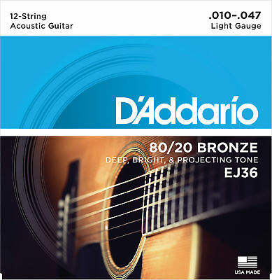 1 Set D'Addario EJ36 80/20 12 String Bronze Acoustic Guitar Strings Light 10-47