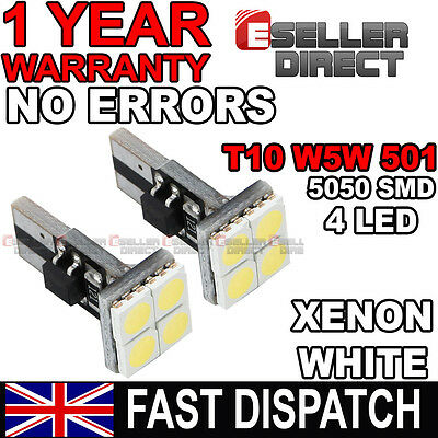 1 X Pair 4 Smd Led Canbus Error Free 501 W5W T10 Sidelight Bulbs 6000K White