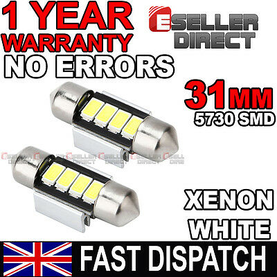 2x 31mm Xenon White 2 SMD LED Interior Light Bulbs Toyota HiLux inc Surf