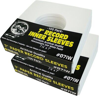 """(200) 7"""" Record Inner Sleeves - White ARCHIVAL Paper ACID FREE 45rpm - #07IW"""