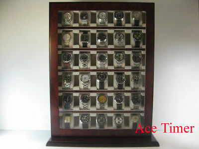 30 Watch Cherry Wood Stand Wall Display Storage Case Fit up to 65mm + Cloth