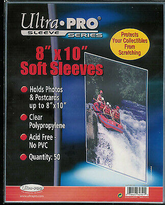 ULTRA PRO 8 x 10 SOFT SLEEVES 50CT NEW HOLDS PHOTOS & POSTCARDS #82321