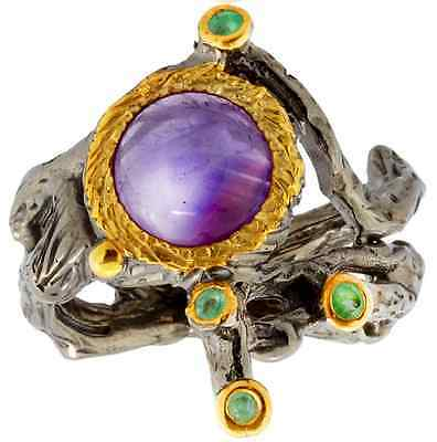 Natural Amethyst Gemstone Ring with Emeralds Ladies Modern Fashion- size 8