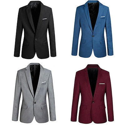 Fashion Men's Casual Slim Fit Formal One Button Suit Blazer Coat Jacket Tops