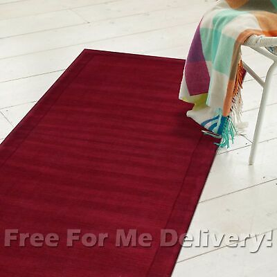 KIMI RED LOOMED THICK WOOL MODERN FLOOR RUG RUNNER 80x300cm **FREE DELIVERY**