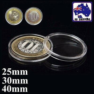 20pcs 25mm 30mm 40mm Coins Holder Case Box Acrylic Clear Container Store HBCA039