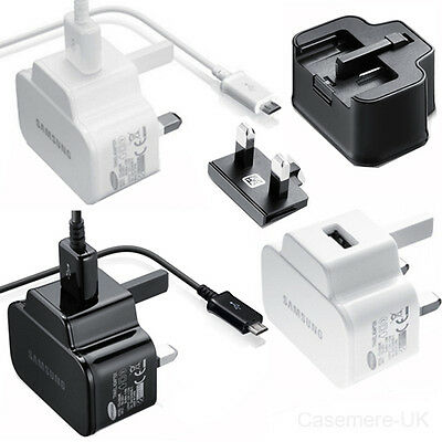Genuine Samsung 2A Mains Charger & Usb Data Cable For Galaxy Phones / Note / Tab