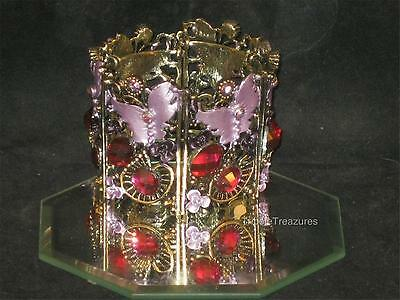 NEW BRONZETONE BRACELET 6 SECTIONS LILAC BUTTERFLIES FLOWERS CRYSTALS a253-2