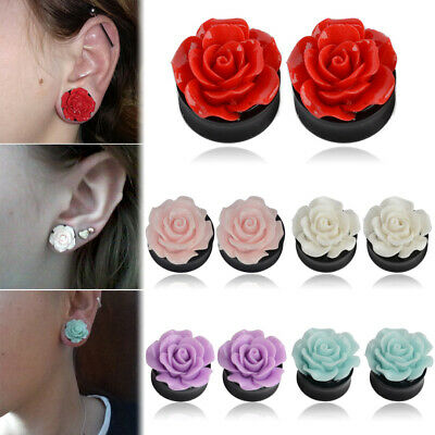 1PAAR 8-25mm Flesh Tunnel Ohr Plug Piercing Double Flared Rose 3D expander